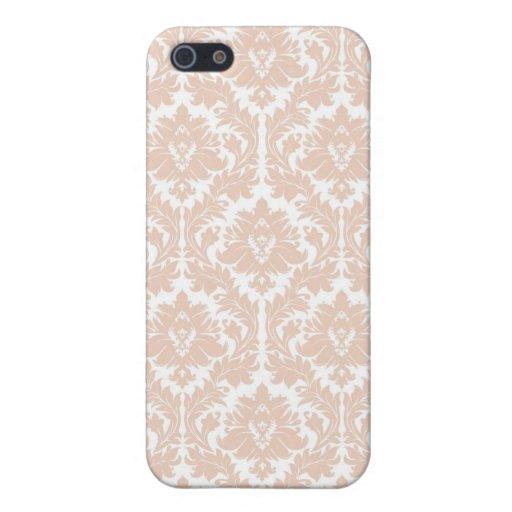 Linen Beige Damask Pattern iPhone 5 Cases