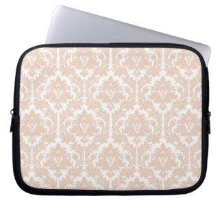 Linen Beige Damask Pattern Laptop Sleeves