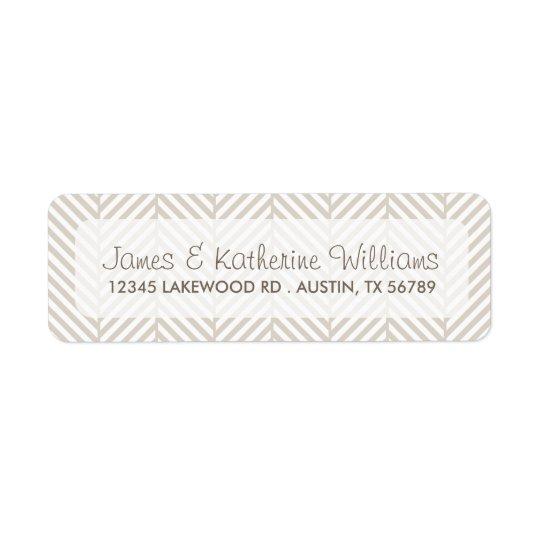 Linen Beige Herringbone Chevron Modern Wedding Return Address Label