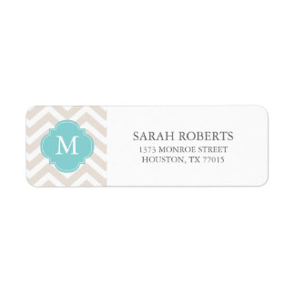 Linen Beige & Mint Zigzags Pattern Monogram