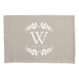 Linen Beige Monogrammed Pillowcase