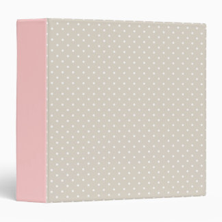 Linen Beige & Pink Cute Tiny Polka Dots 3 Ring Binders