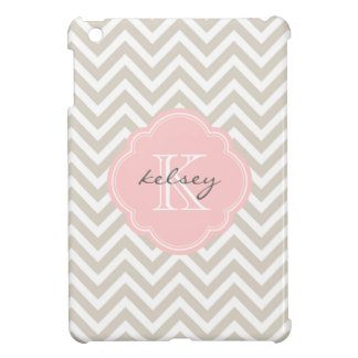 Linen Beige & Pink Modern Chevron Custom Monogram Cover For The iPad Mini