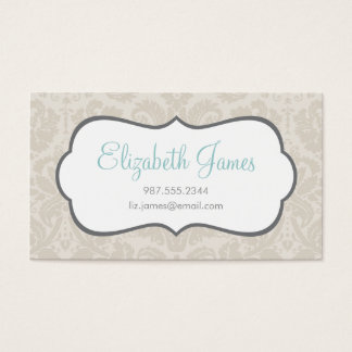Linen Beige Vintage Damask Business Card
