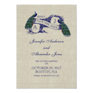 """Linen Blue Peacock Save the Date Card 5"""" X 7"""" Invitation Card"""