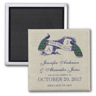 Linen Blue Peacock Save the Date Square Magnet