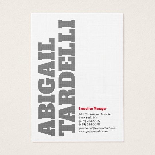 Linen Bold Grey White Minimalist Modern Elegant Business Card
