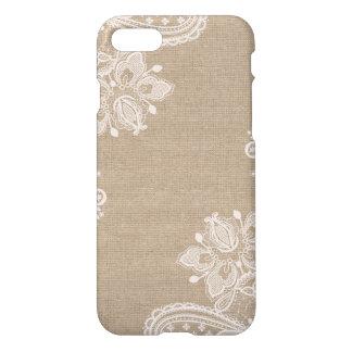 Linen Burlap and Lace Floral iPhone Case