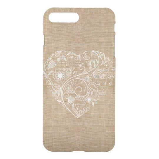 Linen burlap flower heart iPhone 7 plus case