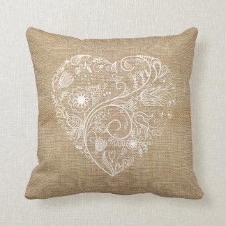 Linen burlap flower heart throw pillow