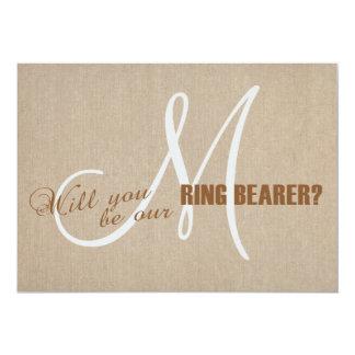 Linen Canvas Wedding Monogram Ring Bearer Card