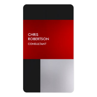 Linen Colorful Red Gray Rounded Profile Card Business Card