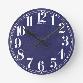 Linen Fabric Texture Background // Navy Blue Denim Round Clock