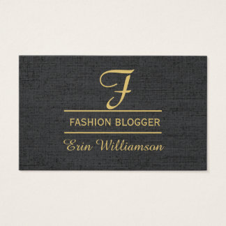 Linen Fashion Blogger Black Golden Minimal Business Card