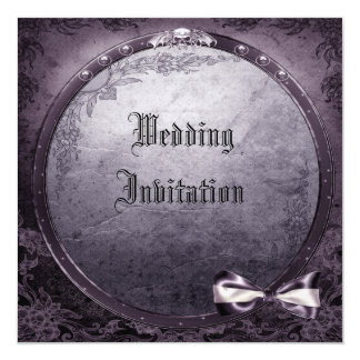 Linen Gothic Winged Skull Purple Wedding Invites