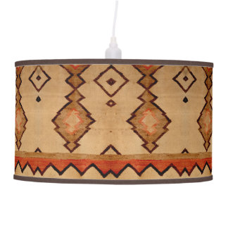 Linen Lampshade Southwestern design woven Rug Pendant Lamp