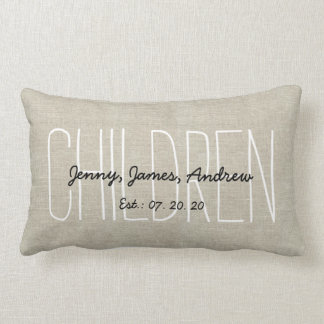 Linen Look Children Personalized Keepsake Lumbar Pillow