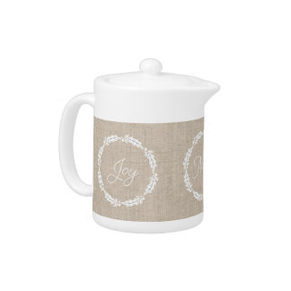 Linen Look Joy Peace Noel Holiday Teapot