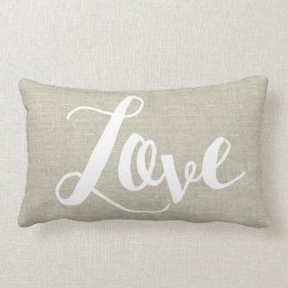 Linen Look Love Lumbar Pillow