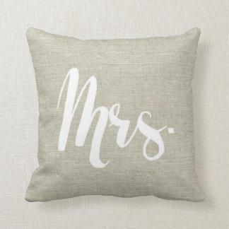 """Linen Look """"Mrs."""" Pillow"""