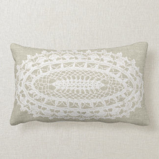 Linen Look White Doily Lumbar Pillow