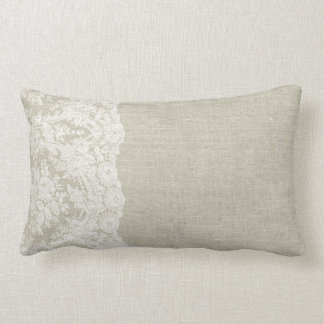 Linen Look with Lace Edge Pillow