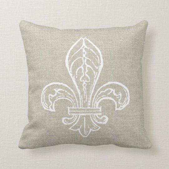 Linen Look with White Fleur de Lis Pillow