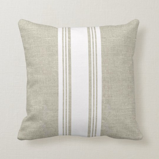 Linen Look with White Stripe Pillow