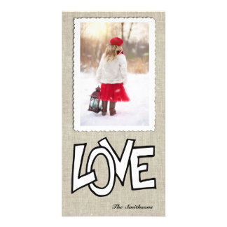 Linen Love Vertical Photo Holiday Card Photo Greeting Card