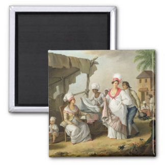 Linen Market, Roseau, Dominica, c.1780 (oil on can Refrigerator Magnet