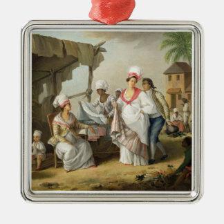 Linen Market, Roseau, Dominica, c.1780 (oil on can Silver-Colored Square Ornament