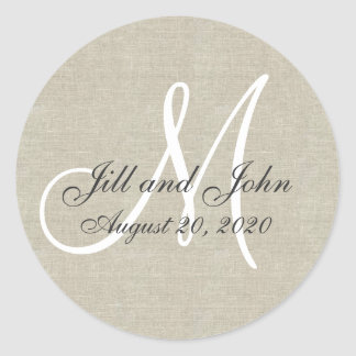 Linen Monogram Wedding Favor Sticker