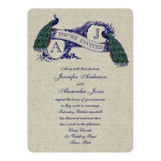 Linen Peacock Rustic Wedding Invitation