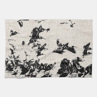 Linen Pelicans Kitchen Towel