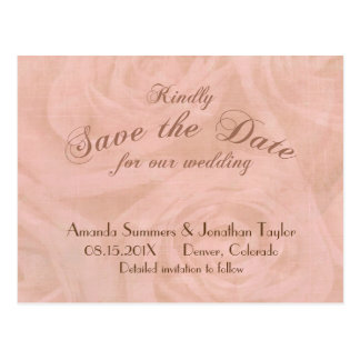 Linen Roses Save the Date Wedding Postcard