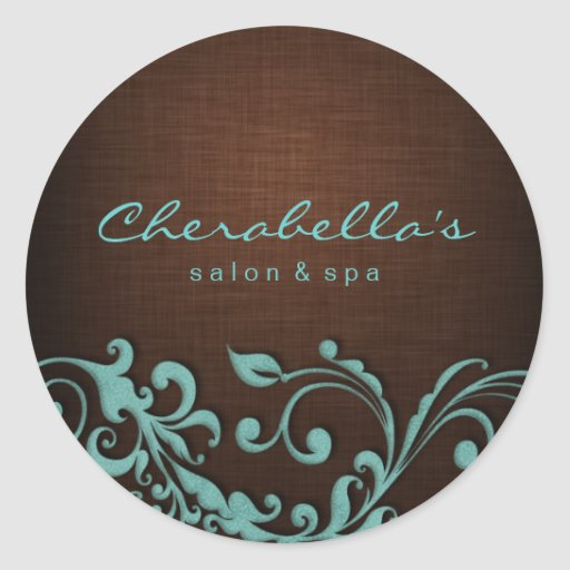 Linen Salon spa sticker blue brown