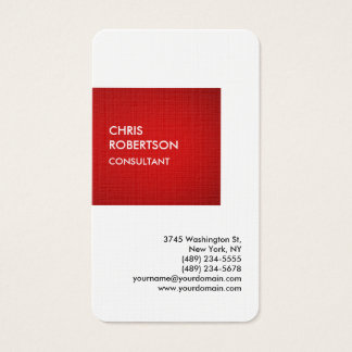 Linen Special Red Private Unique Personal Business Card