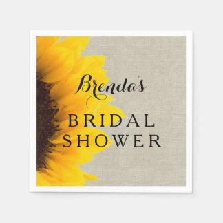 Linen Sunflower | Bridal Shower Paper Napkins