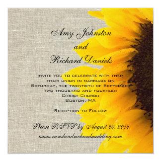 """Linen Sunflower Rustic Wedding Invitation 5.25"""" Square Invitation Card"""