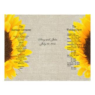 Linen Sunflower Rustic | Wedding Program Flyer Design