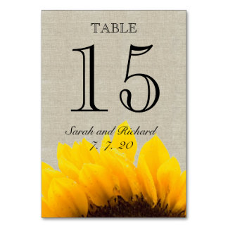 Linen Sunflower Rustic Wedding Table Number Card Table Cards