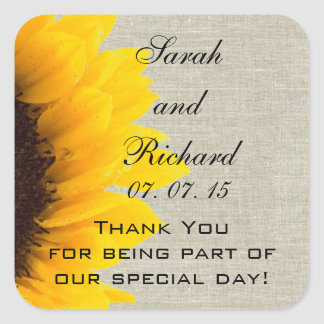 Linen Sunflower Thank You Wedding Favor Square Sticker