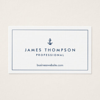 Linen Texture Anchor Logo Professional Classic Business Card