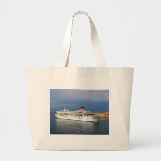 Liner leaving Malta. Large Tote Bag