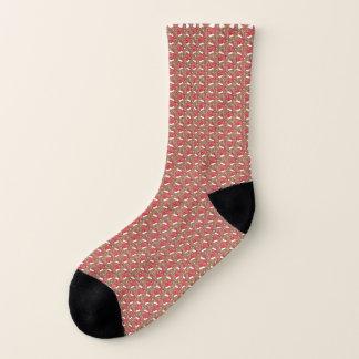Lines And Dots Geometric Print Gold Pink Socks