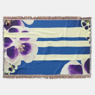 Lines, Blue & Flowers Throw Blanket