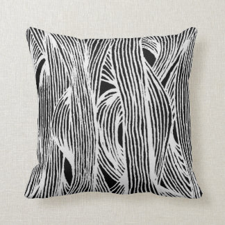 Lines fibers organically samples black-and-white throw pillow