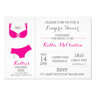 Lingerie Bridal Shower Bachelorette Invitations