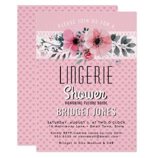 Lingerie Bridal Shower Pink Floral Hearts Lace Card