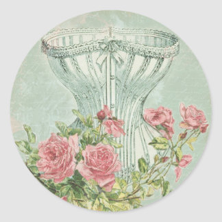 Lingerie Bridal Shower Seals Vintage Pink Roses Round Sticker